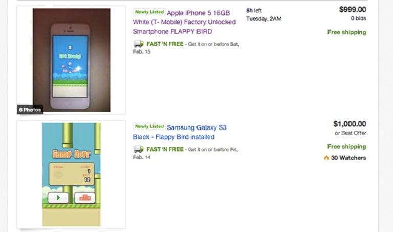 Never fear, Flappy Bird is still available -- on eBay, for a thousand bucks