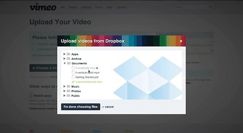 Vimeo adds advanced uploading features, custom thumbnails and Dropbox integration