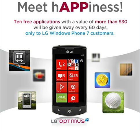 LG giving away ten free Windows Phone 7 apps every two months