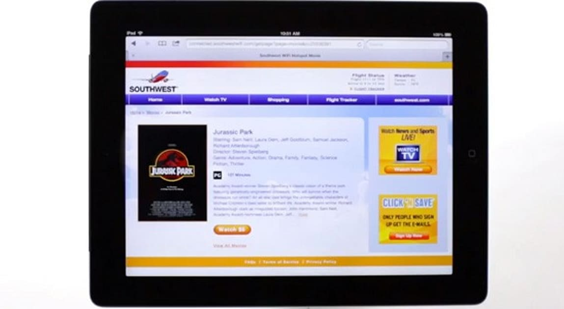 Southwest airlines 39 on demand wifi video reaches all for Southwest airlines free wifi