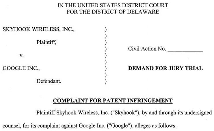 Skyhook sues Google for patent infringement... again