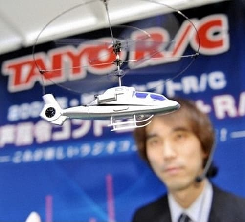 "Video: Taiyo's voice controlled Voice-Heli RC helicopter: ""attack!"""