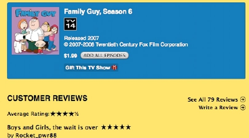Family Guy appears on iTunes