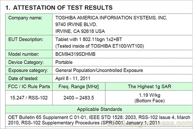 Toshiba's ET100/WT100 Honeycomb tablet clears the FCC