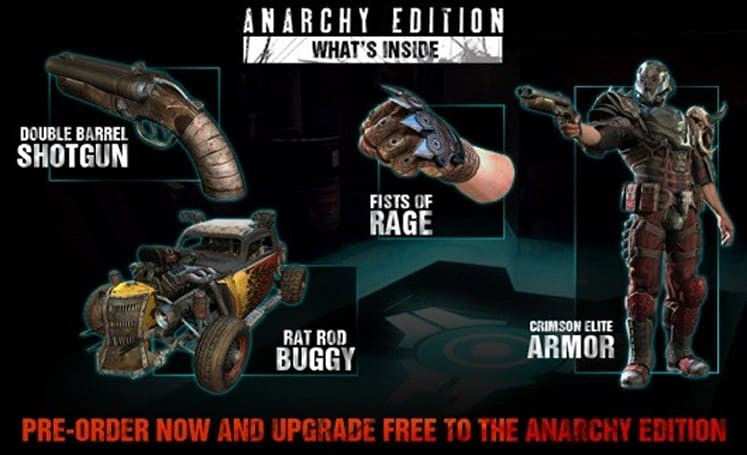 Rage pre-orders upgraded to 'Anarchy Edition,' four in-game items offered