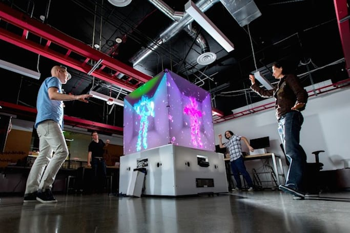 Microsoft built a life-size interactive cube powered by Kinect