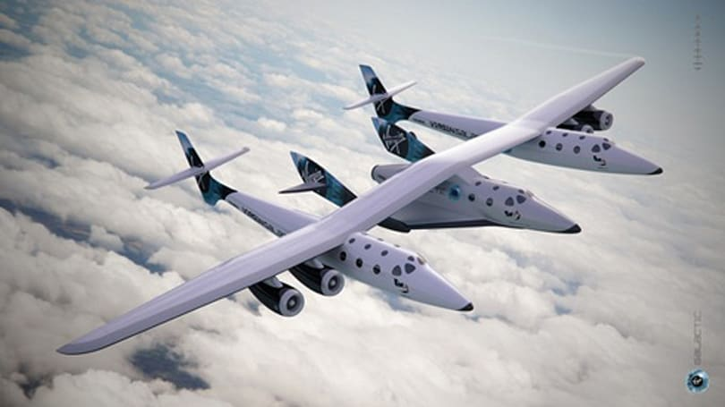 Virgin Galactic's WhiteKnightTwo caught mid-flight on video