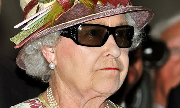 Queen dons Swarovski-encrusted 3D glasses, shows us how bling is done