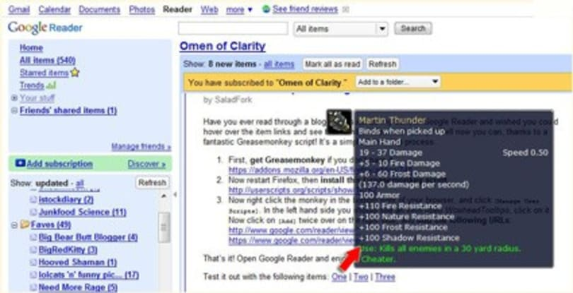 How to get Wowhead tooltips in Google Reader