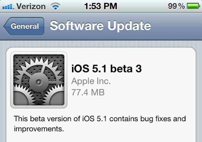 iOS 5.1 beta 3 appears on developer iPhone, available only OTA? (update: live on ADC)