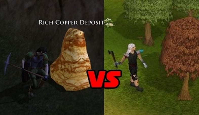 Leaderboard: Mining vs. woodcutting