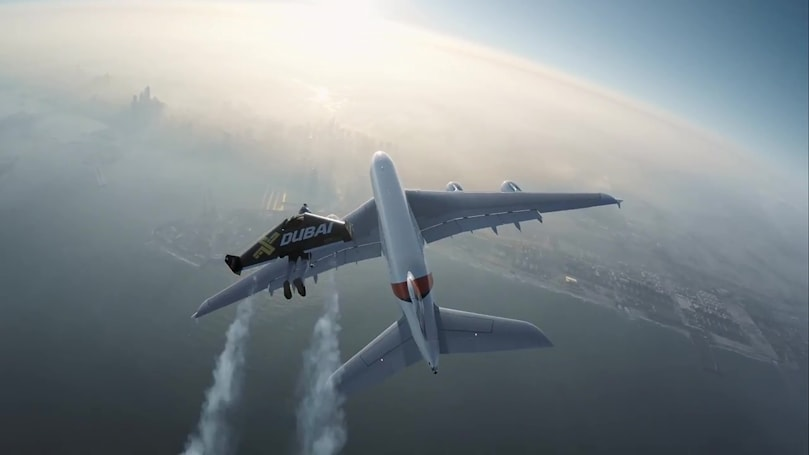 Watch two 'Jetmen' fly alongside an A380 superjumbo