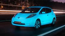 Watch Nissan's glowing Leaf tear down a glowing stretch of highway