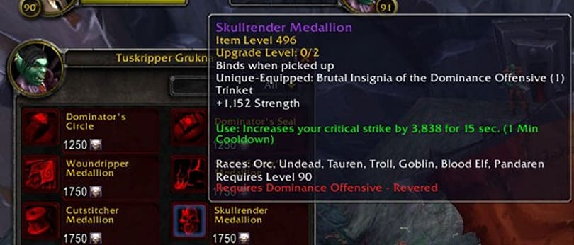 Patch 5.4 PTR: Reputation gear cost changed to Justice Points