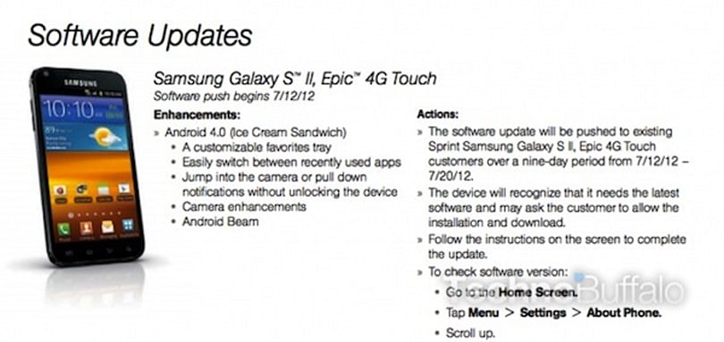 Sprint Galaxy S II Epic 4G Touch Ice Cream Sandwich upgrade reportedly arrives tomorrow