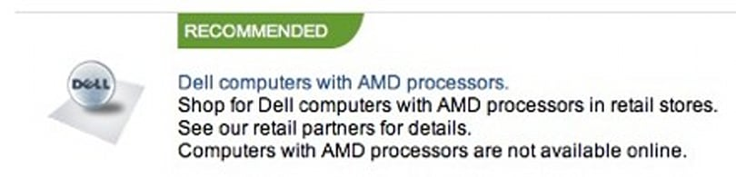 Dell stops selling AMD-powered machines online
