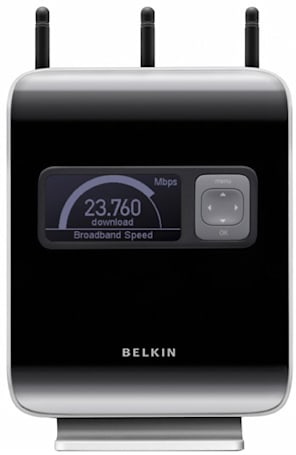 Belkin N1 Vision router displays speed and bandwidth