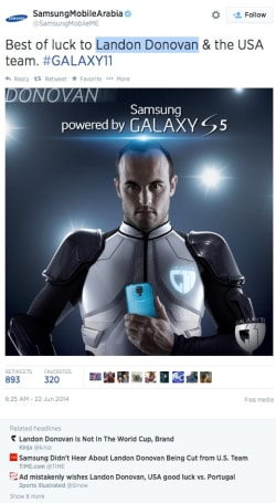 Samsung advertising faux pas hits the World Cup