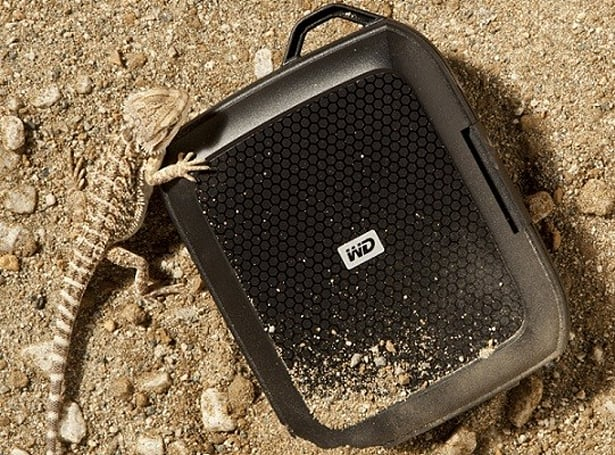 Western Digital Nomad case protects your My Passport drive from falls, spills, and curious lizards