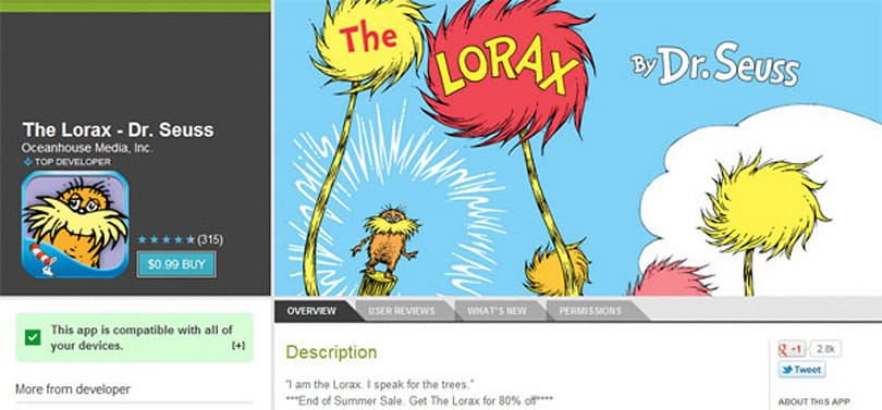 Google Play's End of Summer Sale outed by discounted apps, lets the Lorax speak for the savings