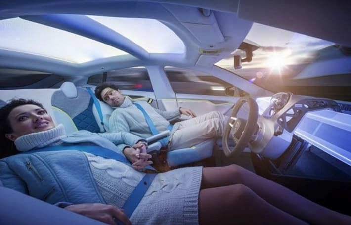 Rinspeed imagines the Tesla Model S as a self-driving 'living room on wheels'