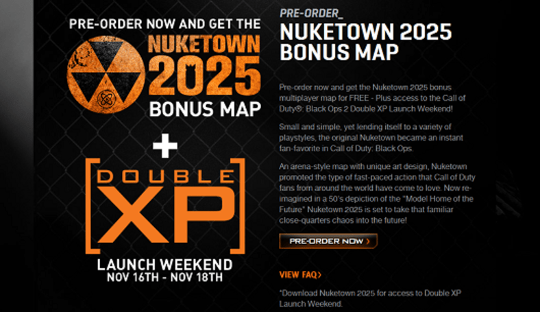 Black Ops 2 pre-order bonus includes double XP launch weekend