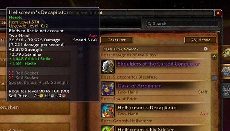 Patch 5.4 PTR: Hellscream's weapon drops are 90-100 heirlooms