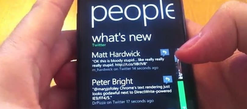 Windows Phone Mango Twitter integration shown off, hashtagged (video)
