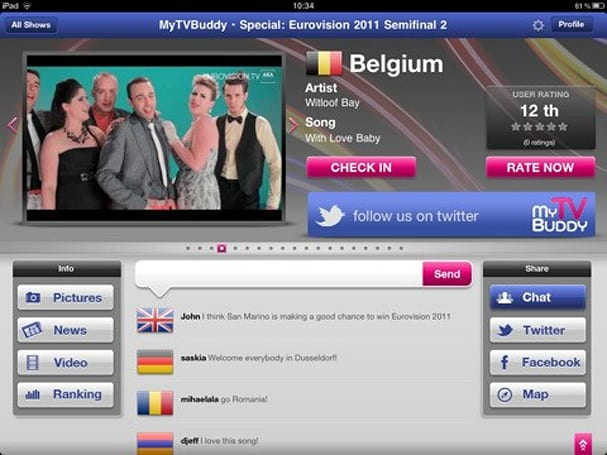 MyTVBuddy brings iPad companion apps to European viewers ahead of Eurovision 2011