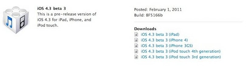 Apple releases iOS 4.3 beta 3 to developers