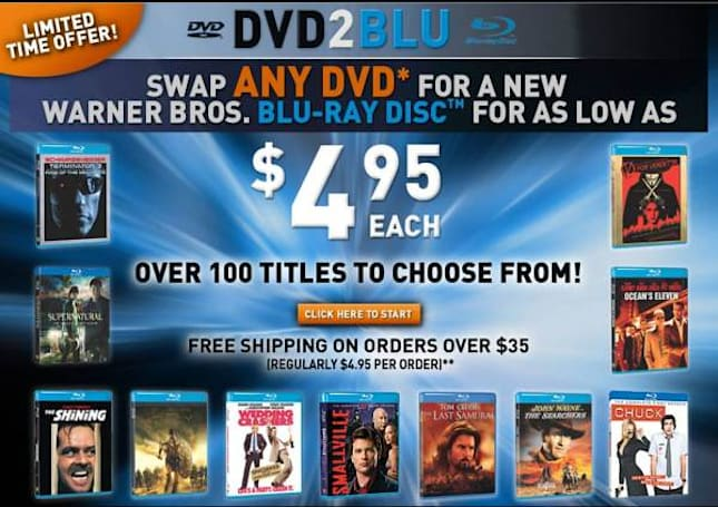 DVD2Blu trade-up scheme lets you swap any old DVD (plus $4.95) for a Blu-ray