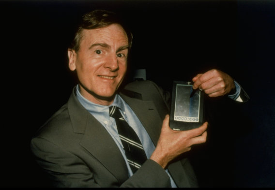 Apple Computer's John Sculley showing off Apple Newton handheld personal data asst. (PDA) computer. (no caps). (Photo by Marty Katz//Time Life Pictures/Getty Images)