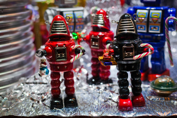 The amazing display in the toy shop window.  Christmas 2011, Conwy At Night
