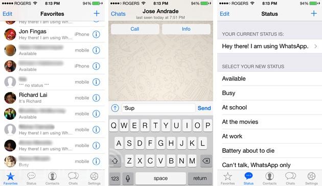 WhatsApp on iOS 7