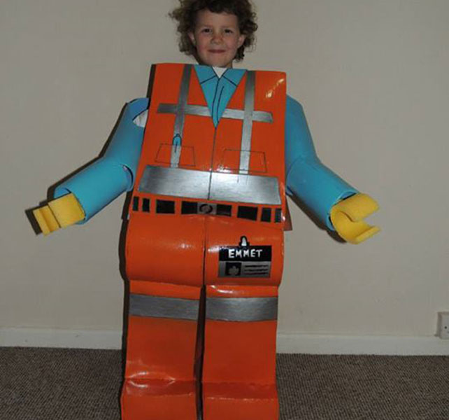 Dad Paul Baker-Billy made a life-sized model of LEGO Movie character emmet