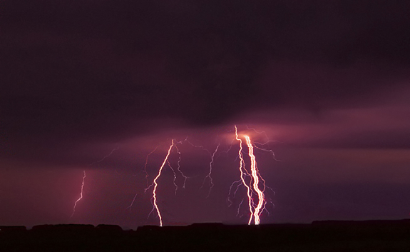 [UNVERIFIED CONTENT] Ribbon lightning rains down over Texas near Lubbock from a severe thunderstorm on October 12 2012.
