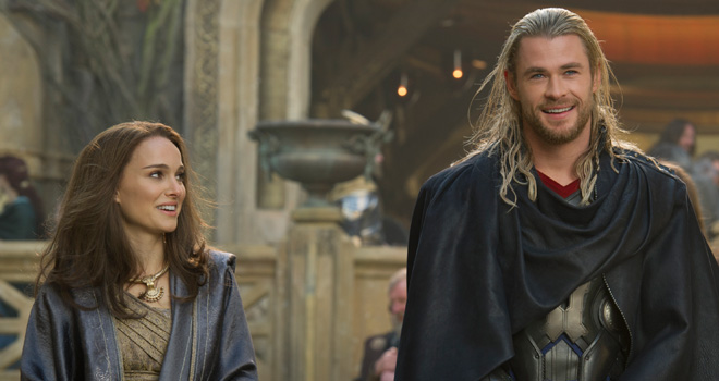 Natalie Portman and Chris Hemsworth in 'Thor: The Dark World'