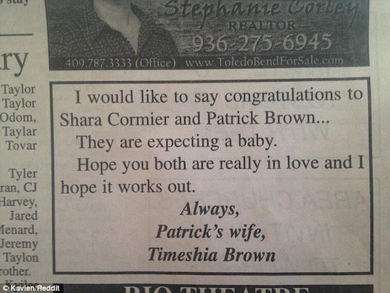 woman congratulates cheating husband in newspaper