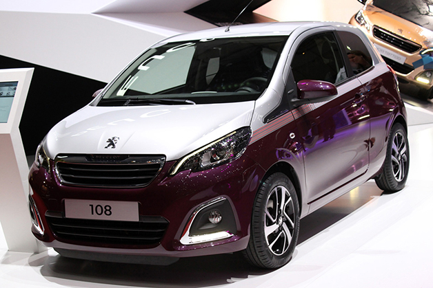 Peugeot 108 at the 2014 Geneva Motor Show, front three-quarter view