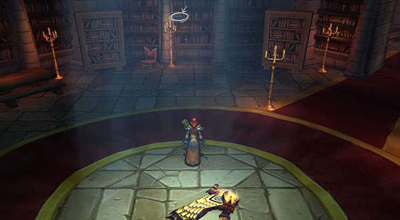 A troll mage stands in front of bookshelves with one book highlighted.
