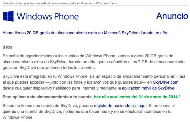 Windows Phone regala a sus usuarios 20 GB de almacenamiento en SkyDrive durante un año