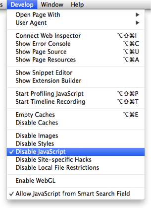 Safari Menu for Disable JavaScript, Checked