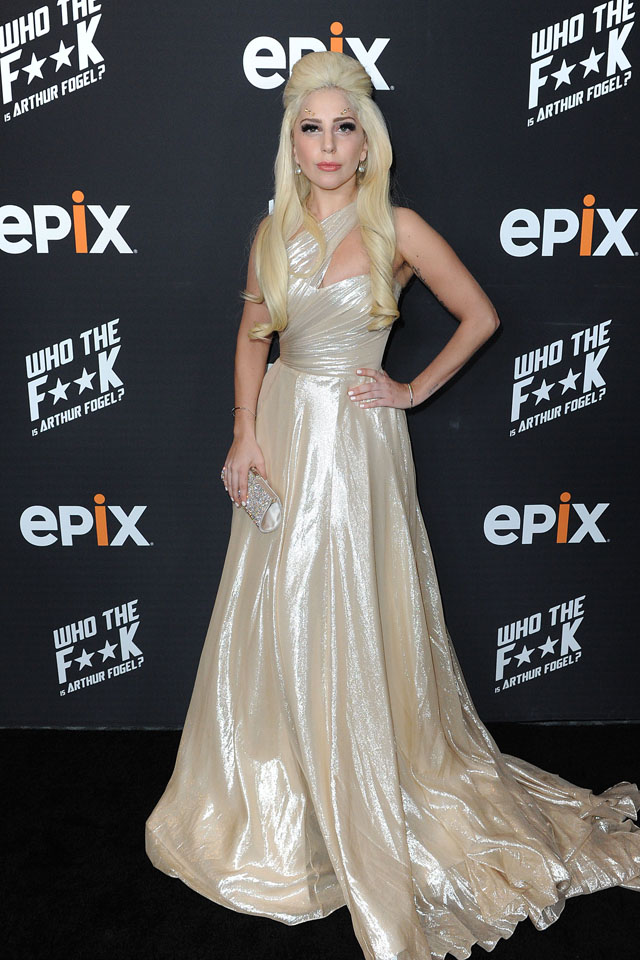 HOLLYWOOD, CA - JANUARY 23:  Lady Gaga arrives at an evening with Arthur Fogel hosted by EPIX at the Harmony Gold Preview House and Theater on January 23, 2014 in Hollywood, California.  (Photo by Joshua Blanchard/Getty Images for EPIX)