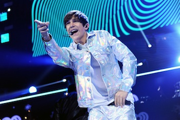 Singer Austin Mahone performs at Z100?s Jingle Ball 2013, presented by Aéropostale, at Madison Square Garden on Friday, Dec. 13, 2013 in New York. (Photo by Evan Agostini/Invision/AP)