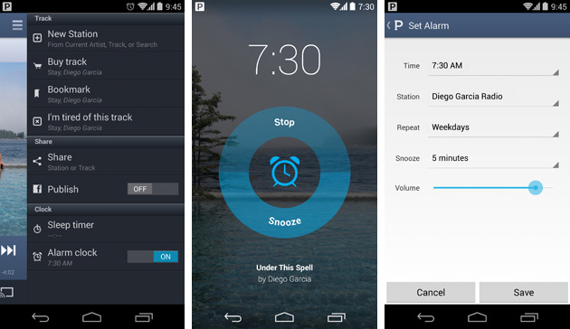 Pandora alarm clock functions on Android