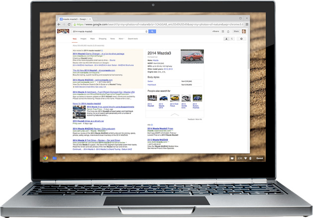 Google Knowledge Graph car search on a Chromebook Pixel