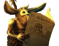 Darkfall brownie reading the newspaper