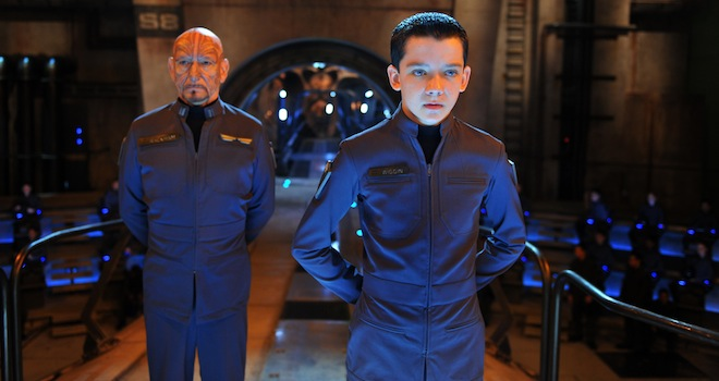 (L-R) BEN KINGSLEY and ASA BUTTERFIELD star in ENDER'S GAME