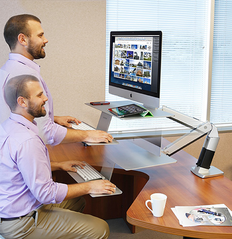 sit or stand at WorkFit desk