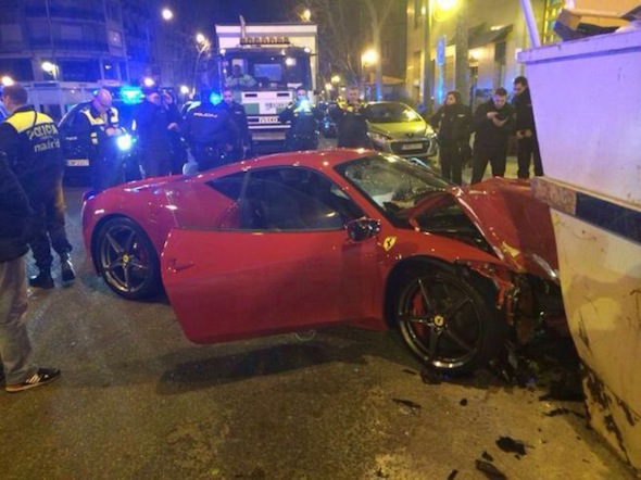A supercar owner told police he fled the scene of an accident because he couldn't bear the sight of his pride and joy, a Ferrari 458, that had been written off when he crashed it against a skip in the capital Madrid.  Gabino Gamez González, 45, told local media: